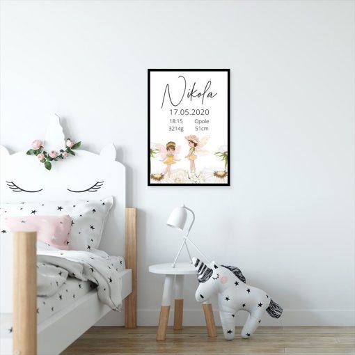 Plakat dziecięcy z duszkami leśnymi i metryczką