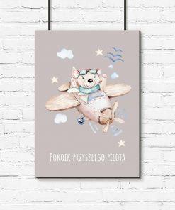 Plakat dziecięcy z samolotem i napisem dla chłopca