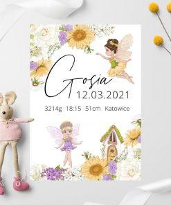 Kolorowy plakat z metryczką dla niemowlaka