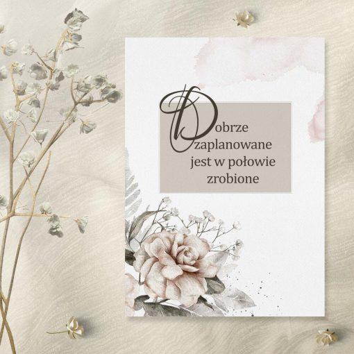 Plakat z motywem kwiatowym i typograficznym