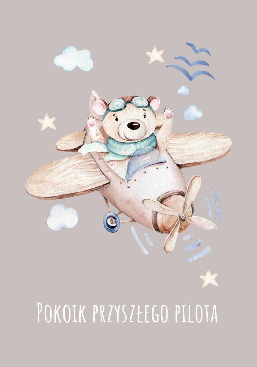 Plakat chłopięcy z napisem i samolotem