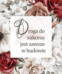 Plakat z motywem kwiatowym i typografią