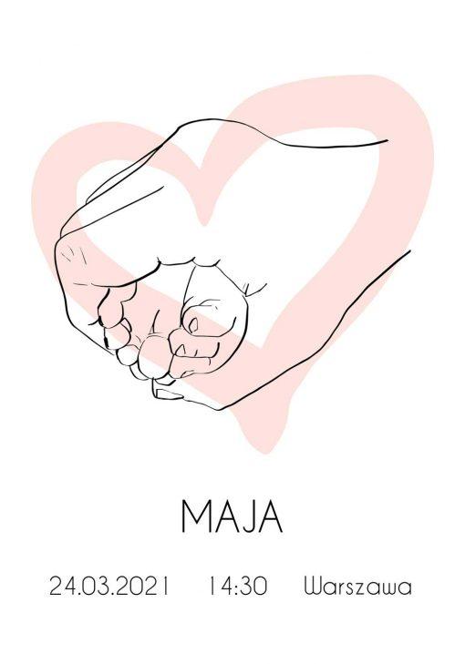 Artystyczny plakat do pokoju dziecinnego z metryczką i różowym sercem