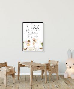 Plakat z rusałkami i metryczką dla Nikoli