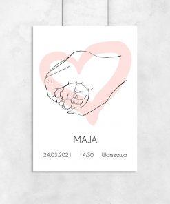 Artystyczny plakat dziecięcy z metryczką i różowym sercem