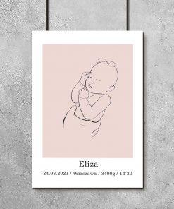 Dziecięcy plakat minimalistyczny z imieniem dla dziewczynki
