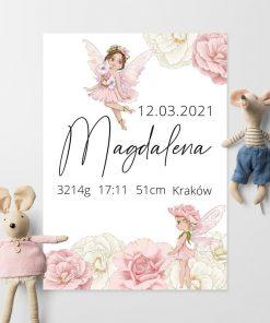 Plakat z metryczką noworodka na prezent