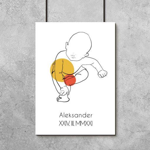 Nowoczesny plakat dziecięcy z imieniem dla chłopca