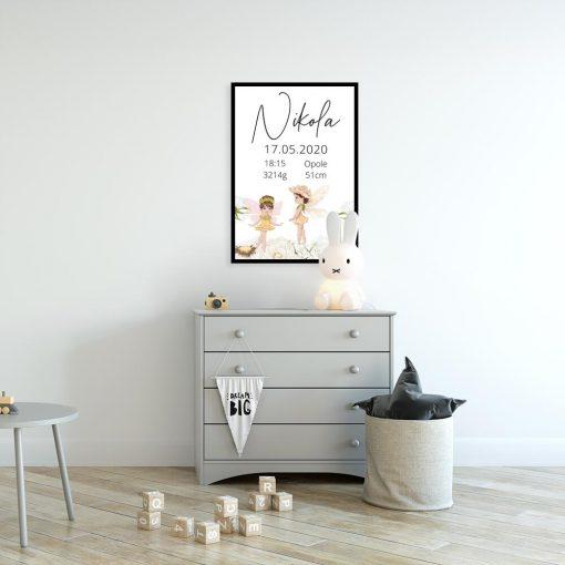 Plakat z wróżkami i metryczką oseska
