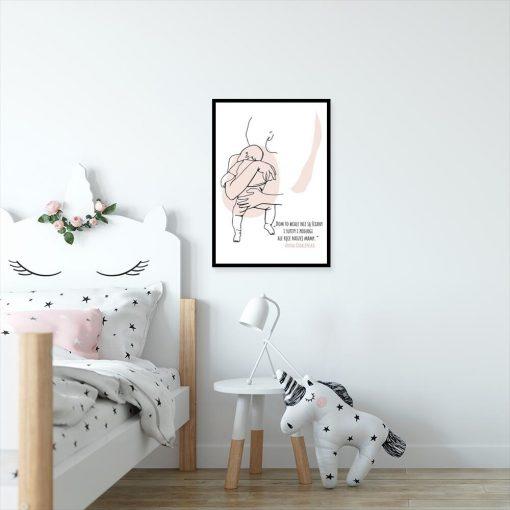 Plakat line art z sentencją dla mamy do pokoju dziecka