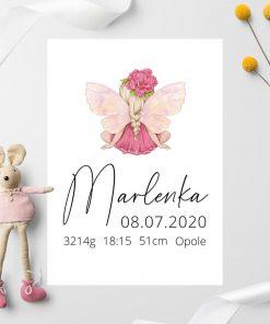 Różowy plakat z plakietką urodzeniową dla dziewczynki