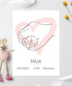 Artystyczny plakat dziewczęcy z metryczką i sercem