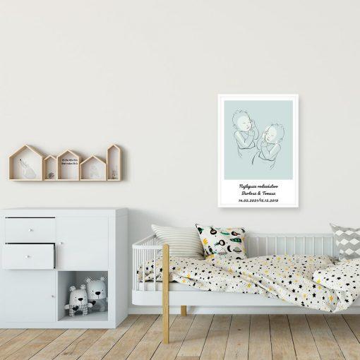 Plakat dziecięcy line art z napisem dla bliźniąt
