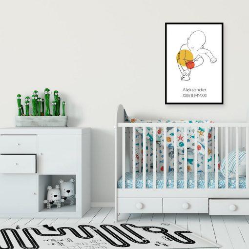 Nowoczesny plakat dziecięcy z imieniem dla niemowlaka