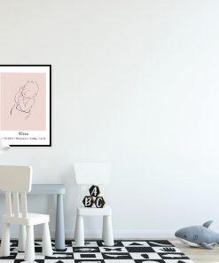 Dziecięcy plakat minimalistyczny z imieniem do pokoju niemowlaka