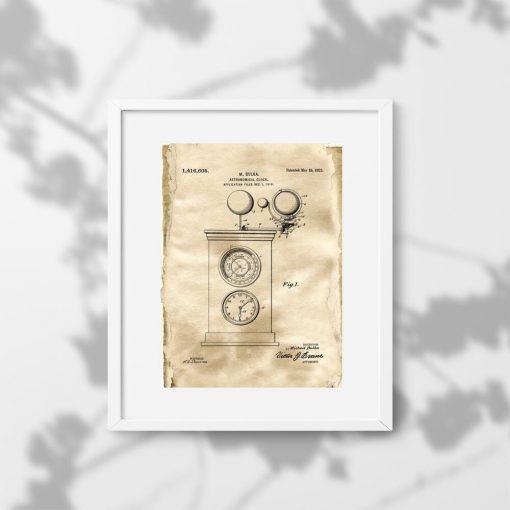 Plakat ze starym projektem zegara astronomicznego do biura