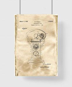 Plakat retro z motywem rysunku opisowego zegara do biura