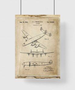 Stary patent na samolot - plakat