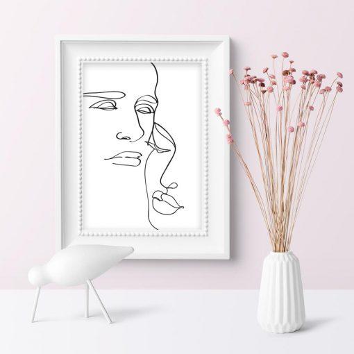 Plakat kobieta i mężczyzna styl minimalistyczny