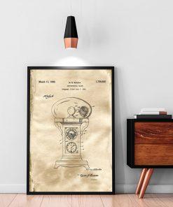 Plakat retro z motywem rysunku opisowego zegara do sypialni