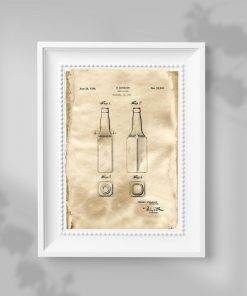Plakat w kolorze beżowym z koncepcją butelki do piwa