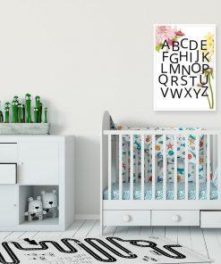 Plakat z alfabetem i kwiatami do pokoju dziecinnego