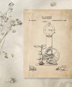 Plakat ze starą ryciną bicycle trainer