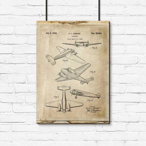 Plakat schemat samolotu dwusilnikowego