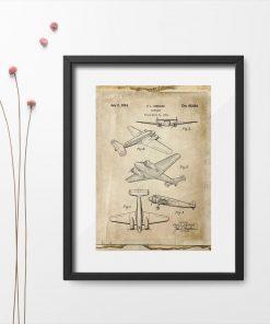Plakat z samolotem dwusilnikowym pasażerskim