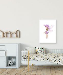 Plakat dziewczęcy z leśnym liliowym elfem