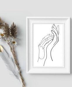 Plakat szkice line art -ręce