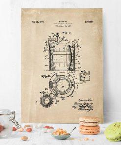 Beżowy plakat z patentem na produkcję beczek