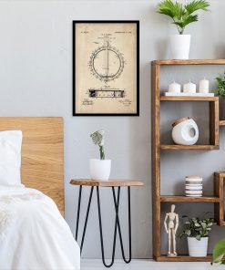 Muzyczny plakat z patentem bandżo dla mężczyzny