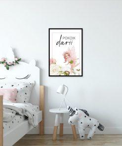 Imienny plakat z kwiatową wróżką do dziecinnego pokoju