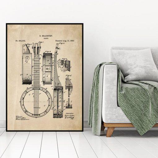 Plakat retro z rysunkiem opisowym bandżo do sypialni