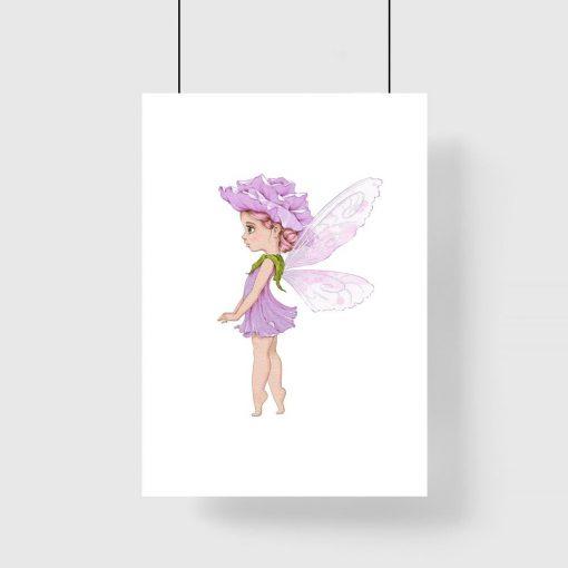 Plakat dla dzieci z leśnym liliowym elfem