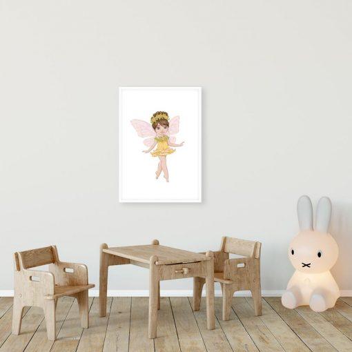 Kwiatowa wróżka - Plakat dziecięcy w kolorze żółtym