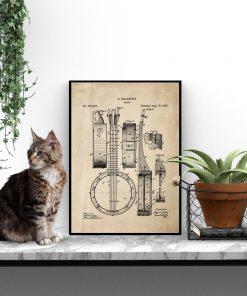 Plakat retro z rysunkiem opisowym bandżo do biura