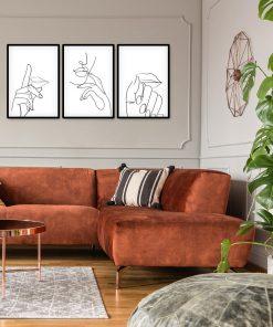 Plakat potrójny ręce i usta - szkic