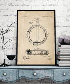 Muzyczny plakat z patentem bandżo dla nastolatka