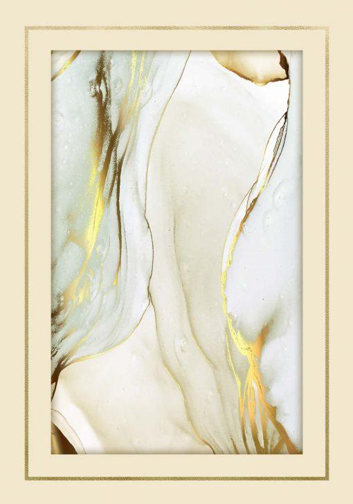 Plakat z żółtymi abstrakcyjnymi formami