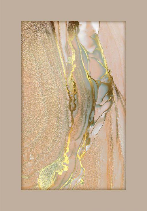 Łososiowo-złoty marmur na plakacie