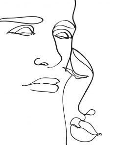 Plakat szkic twarzy line art