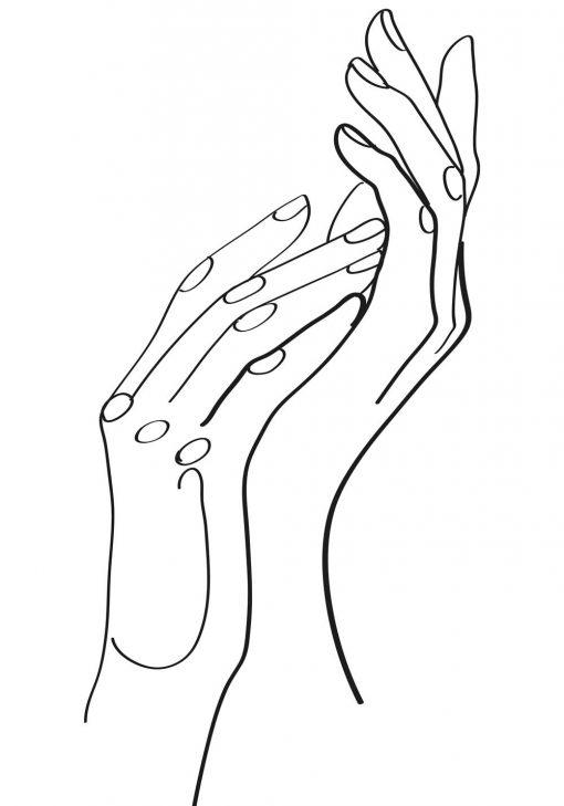 Minimalistyczny plakat i kobiece dłonie - szkic