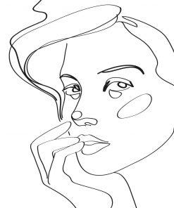 Czarno-biały plakat z podobizną kobiety