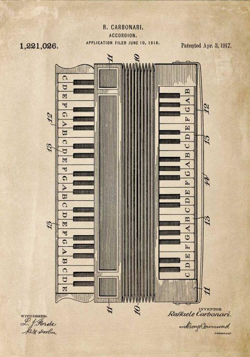 Plakat z rysunkiem akordeonu