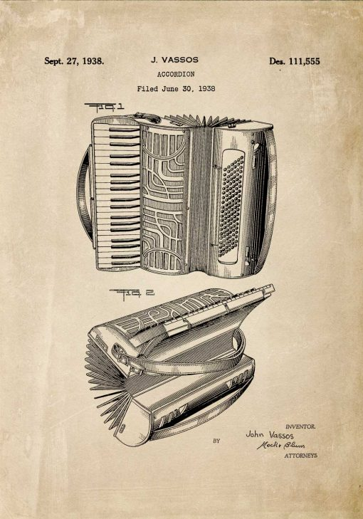 Plakat ze starym akordeonem