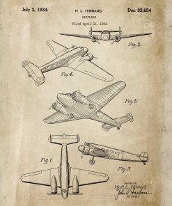 Plakat vintage samolot dwusilnikowy w beżowym kolorze