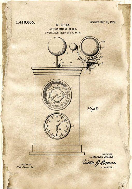 Plakat ze starym projektem zegara do salonu