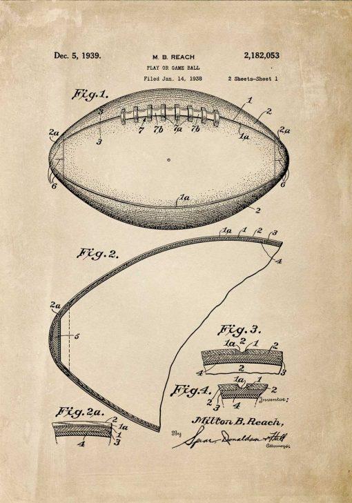Szkic patentu na piłke do footballu amerykańskiego - poster